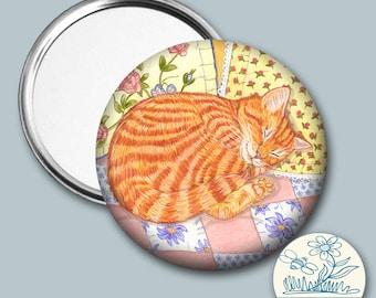 Ginger Kitten sleeping illustrated - Pocket Mirror, cat lover gift, gift for her