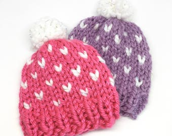 Chunky Knit Beanie // Chunky Knit Baby Hat // Baby Toque // Chunky Knit Hat // Pom Pom Hat // Baby Pom Pom Beanie // Super Warm // Heart Hat