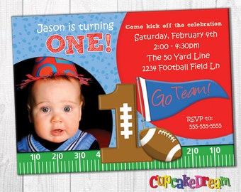 Football Birthday Invitation, Sports Birthday