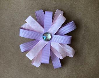 Pink and purple flower loop bow