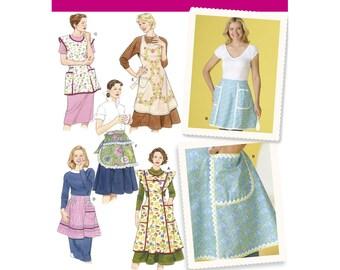 Retro Aprons, Vintage Aprons -Simplicity 4282 -Misses' Vintage Aprons Sizes: S (10-12) - M (14 -16) - L (18-20) New UNCUT