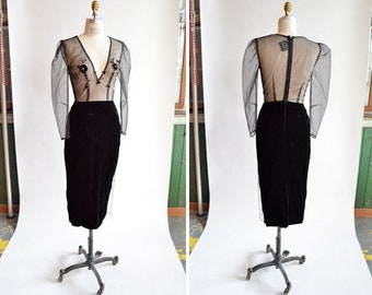 Vintage 1980s SHEER velvet evening dress
