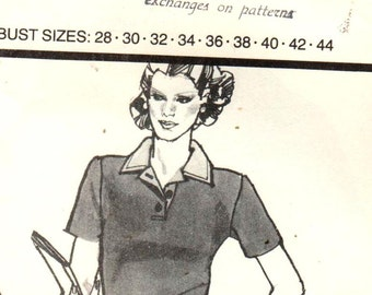 "Stretch and Sew 301, Bust 28-44"".  Ladies Polo/Rugby Shirt with short or long sleeves option, Vintage multisize pattern by Ann Person, UNCUT"