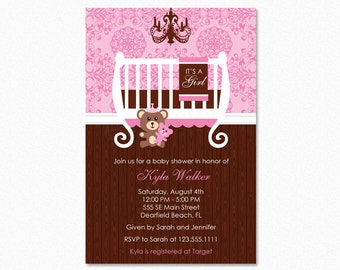 Crib Baby Shower Invitation, Baby Room Baby Shower Invitation, Pink, Brown, Personalized, Printable or Printed