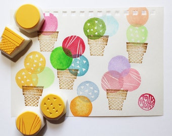 ice cream cone rubber stamps | food stamp | birthday scrapbooking | diy summer gifts | hand carved by talktothesun | set of 4