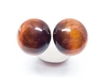 Tiger Eye Gemstone, Sterling Silver Post Earrings, Round Gemstone Earrings, Gemstone Stud Earrings, Birthday Gift, Brown Gemstones, E16152