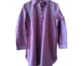 VioletQ. Dress. Pure Silk. Mother pearl buttons. Handmade. Ribbons inside. cmz collection. cmz.