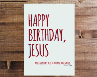 White Happy Birthday Jesus Christmas Gift Tag / Decor Digital Download Funny Holiday Printable