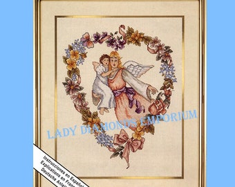 HEART STRINGS, Vintage Elsa Williams Counted Cross Stitch & Ribbon Embroidery Kit, Angels, Flower Heart