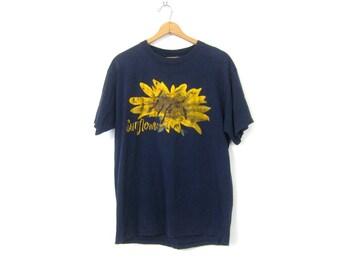 Long Sunflower Tshirt Navy Blue Flower Tee Shirt Cotton T Shirt Graphic Floral Top Vintage Women's Size XL