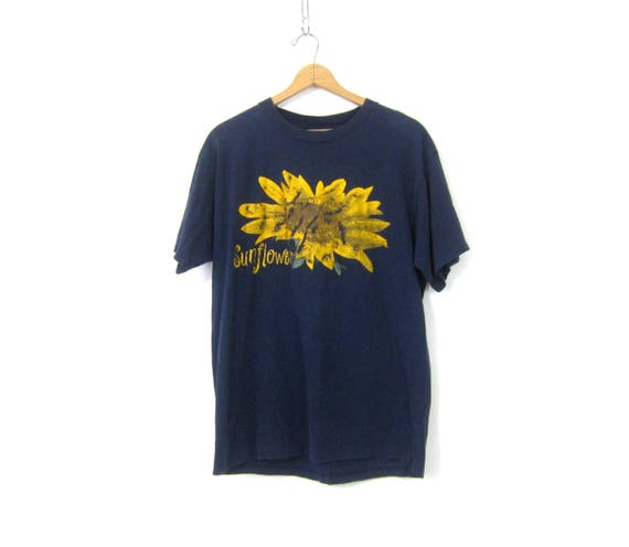 Long Sunflower Tshirt Navy Blue Flower Tee Shirt Cotton T Shirt Graphic Floral Top Vintage Women's Size XL