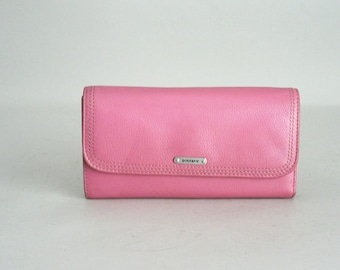 Womens Pink Leather Checkbook Wallet
