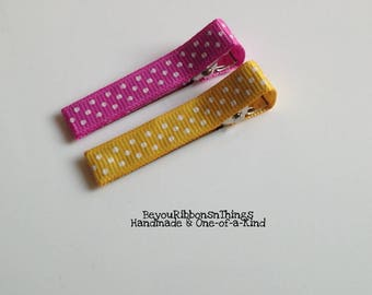 PINK - YELLOW, Hair Clips, Hair Barrette, Baby Hair Clips, Toddler Barrettes, Accessories, Hair Accessories, Kids, Gift Idea