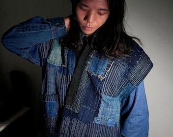 Gorgeous patchworks Indigo Boro Japanese kimono sleeveless Edo era