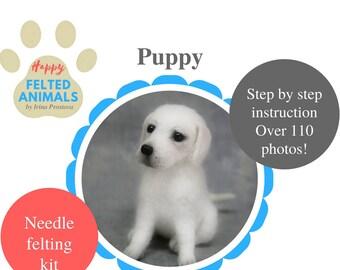Needle felting kit Needle Felted Animal Kits Craft kit Needle Felted Dog Plush Puppy Toy Felt Needle felting  starter kit  Needle Felted Toy