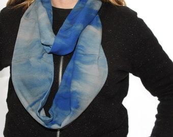 Turquoise and blue dip dyed soft scarf, infinity cotton scarf, spring scarf, ombre dip-dyed scarf, great Gift.