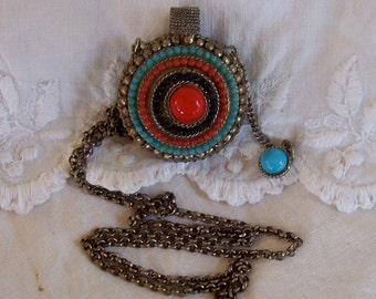 vintage faux coral, turquoise, alpaca silver tribal perfume or poison bottle necklace ... boho chic, Moroccan, Afghan