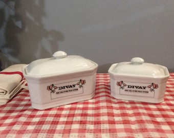 Two Goose Themed Vintage French APILCO porcelain pots, French White Lidded Terrine, Themed Porcelain Lidded Containers