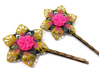 Pinwheel Bobby Pins-Tie Dye Bobby Pins-Neon Hair Pins-Flower Hair Slides-Floral Hair Clips-Bright Hair Comb-Gifts for Her-Neon Bobby Pins