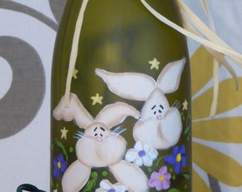Etsy your place to buy and sell all things handmade hand painted bunnies lighted wine bottle hostess gift housewarming gift spring decor negle Images