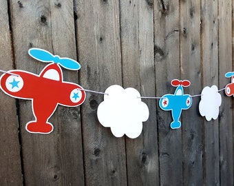 Airplane Garland, Airplane Banner, Airplane Party Garland, Airplane Baby Shower, Airplane Banner, Airplane Photo Prop (48171013P)