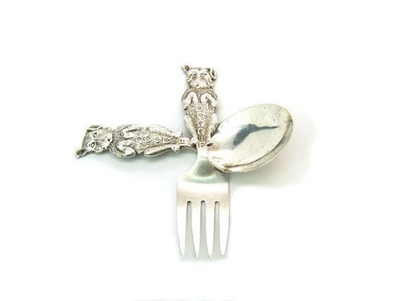 Vintage Weidlich Begging Dog Sterling Silver Baby Child's Fork Spoon Set