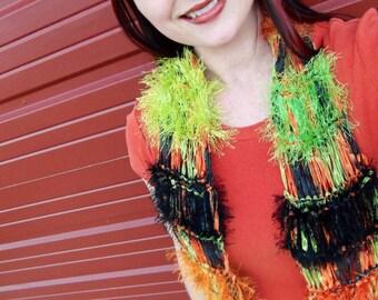 Women Fashion Scarf - Orange Black Green Accessories Scarf Sparkle Scarf Ribbon Scarf Bold Scarf
