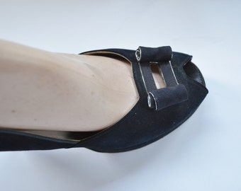 "1940s Womens Shoes Size 6.5 B by Palter DeLiso Peep Toe Platform Pumps Black Suede Pump with 4"" Heel Faille Ribbon Trim and Bow Rockabilly"