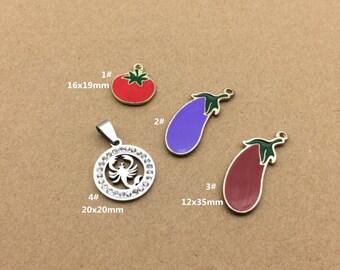 10PCS, Enamel Charm, Eggplant Charm, Fruit Charm, White Scorpion Pendant, Jewelry Charm, Craft Supplies, Gold Tone
