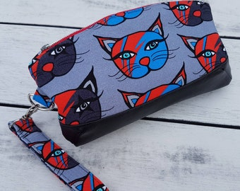 David Bowie Tribute Kittie wristlet bag. Unique gift in a rare fabric