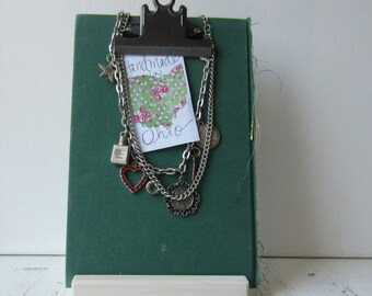 One Green Clipboard Display - Photo / Sign Holder - Jewelry Display - Recycled Book Display - Ready to Ship