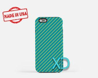 Teal Stripe iPhone SE Case, Teal Stripe iPhone Case, Teal iPhone SE Case, Stripe SE Case, Teal iPhone Case, Teal Stripe Tough Case, Yellow
