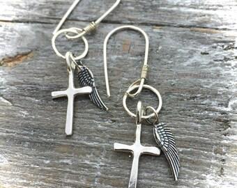 Sterling Silver Earrings Cross Angel Wings Hand Made Wild Prairie Silver Jewelry Joy Kruse