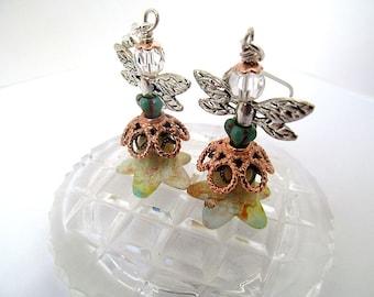 Fairy Earrings, Angel Earrings, Lucite Flower Bead Dangle Earrings, Flower Fairies, Whimsical Jewelry, Moonlilydesigns, Angel Wings, Cute
