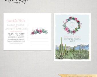 Destination wedding Arizona Scottsdale Phoenix Desert cactus succulent rose illustrated wedding invitation Suite Deposit Payment