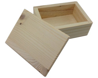 """Small Unfinished Wood Box with Lid 3 1/2"""" x 1 1/2"""" x 1 1/2"""""""