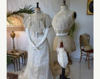 ON SALE 1903 BUZENET Ball Gown, Evening Gown, Antique Dress, Antique Gown, Edardian, Paris, ca. 1903