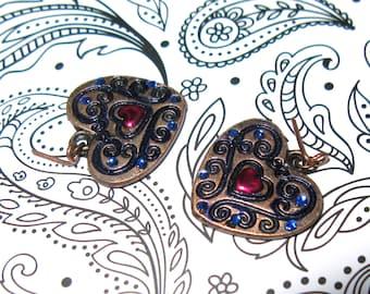"Doll clothing jewelry earrings ""Sugar Heart Blue"" bjd moxie descendants project mc2 blythe monster high 17"" dc girls bratz obitsu ever after"