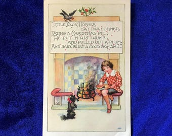 c.1910 Christmas Postcard Schipperke Dog Little Jack Horner by Newman Wolsey and Co., Leicester, England