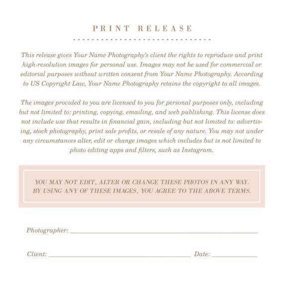 Print Release Template Form Photographer Licensing Agreement