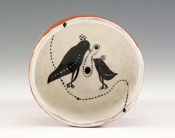 Two Birds in a  Bowl - Original Painting by Jenny Mendes in a Hand Pinched Ceramic Finger Bowl