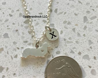 Long Haired Dachshund initial necklace, dachshund jewelry, doxie necklace, dachshund necklace doxie necklace, weiner dog jewelry