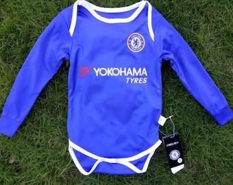 Chelsea Baby Futbol Onesie Long Sleeve EPL Soccer Football Baby Bodysuit