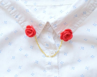 Red felt flower collar pins with optional gold or silver chain | quirky accessories