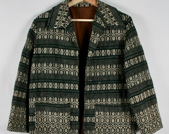 Vintage Woven Coat in Green & White
