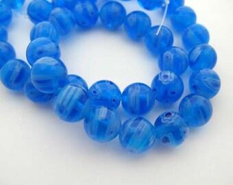 Blue with White Round Millefiori Beads - CG247