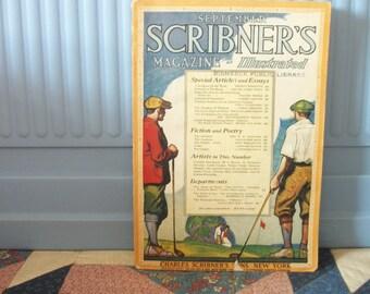 Vintage 1920 Scribners Magazine Sept Golf Cover by Tandler Article on Sculptor Phimister Proctor
