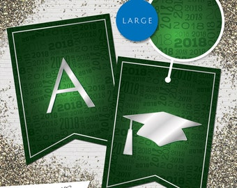 Large Green & Silver 2018 Printable Banner  |  All Letters 0-9 numbers | Graduation, Birthday, Congratulations, Anniversary