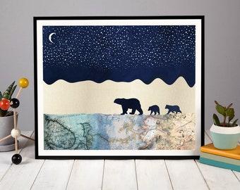 Polar Bears under a Starry Sky, Arctic Print, Polar Bear Print, Gift, Nursery Art, Nursery Decor, Wall Print, Wall Art, Polar Bear Family