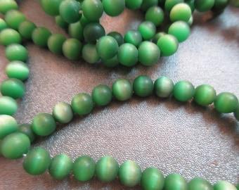 Matte Green Cat's Eye Round 6mm Beads 70pcs